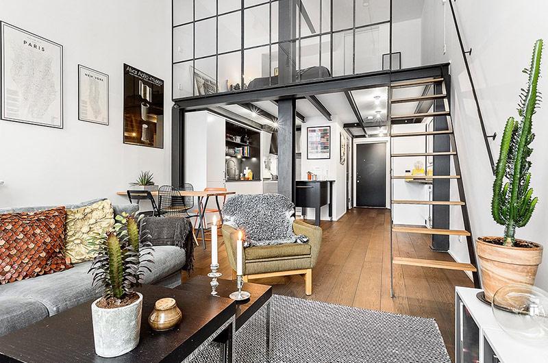 61平小户型loft公寓客厅效果图