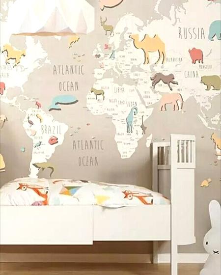 儿童房装修地图壁纸图片