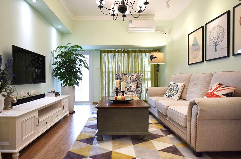 78平美式风格二居客厅装修设计