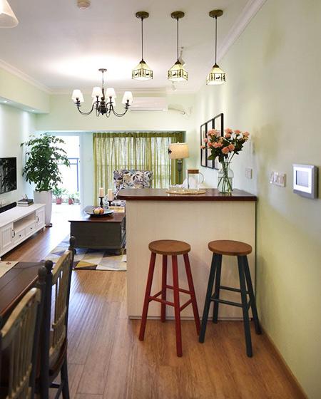 78平美式风格二居吧台隔断装修