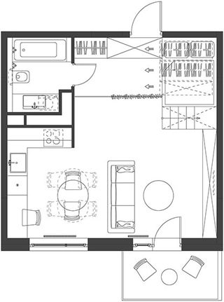 35㎡简约单身公寓设计平面图