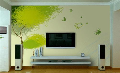 里的装饰太多单调的话,我们可以选择一些比较靓丽的颜色来装扮影视墙图片