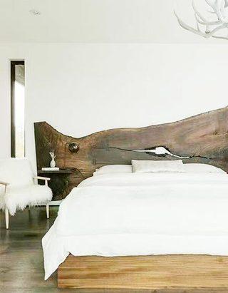 卧室木制床头设计造型图片