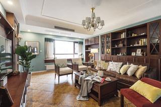 120平美式风格三居客厅效果图