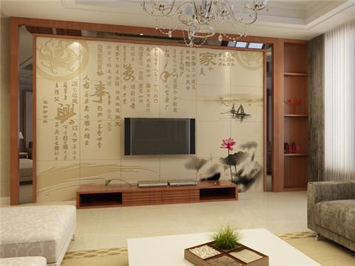 电视背景墙瓷砖装修效果图 客厅瓷砖电视背景墙设计