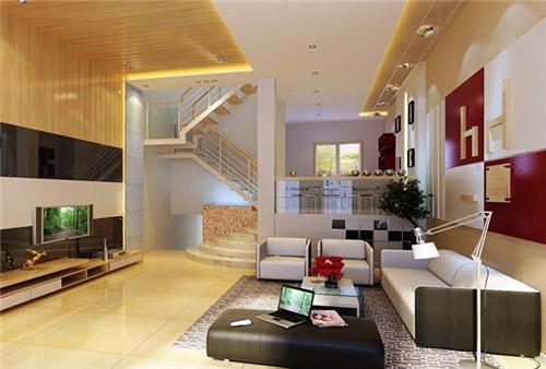 客厅装修有所不同,复式楼客厅还必须结合楼梯来进行整个空间的设计