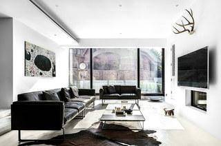 400平独栋别墅装修真皮沙发图片