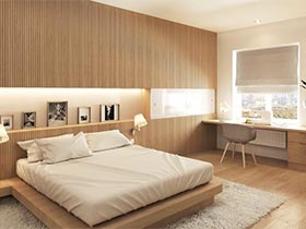 木质新玩法  10个卧室装修效果图条纹背景墙图片
