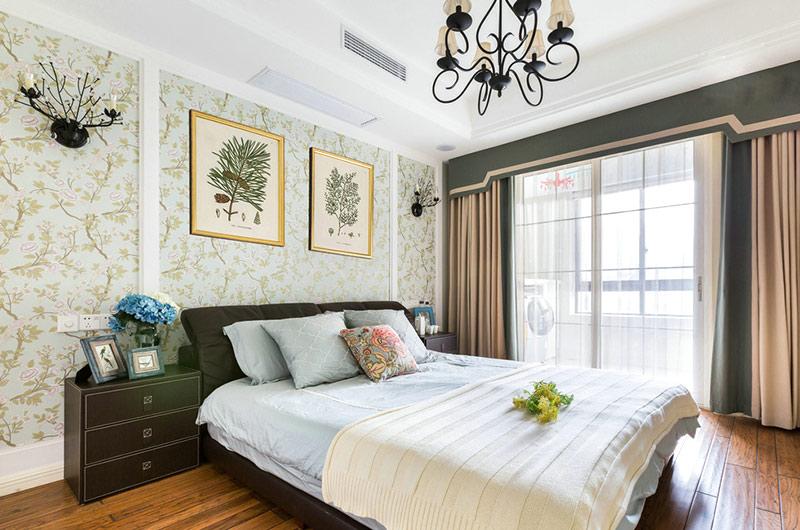 三居室简约美式设计卧室效果图
