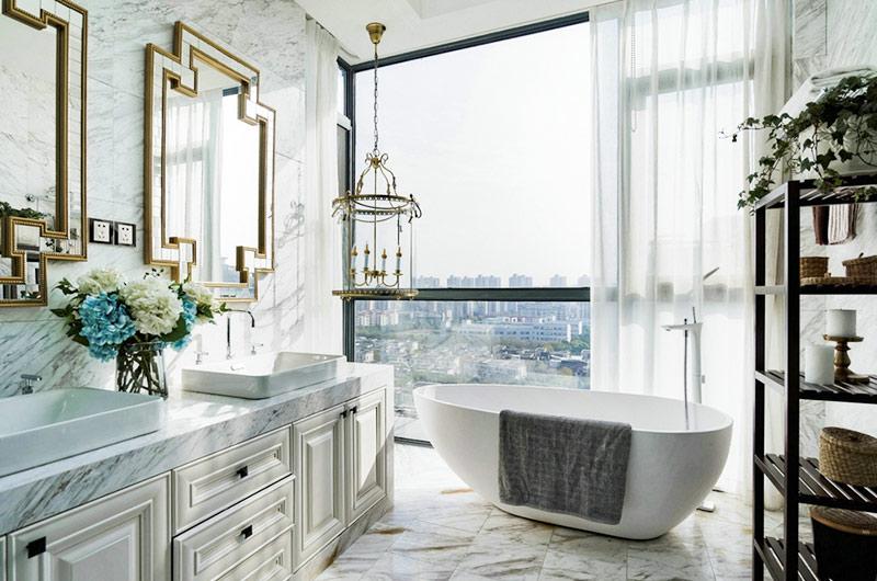360平复式楼装修卫生间浴缸效果图
