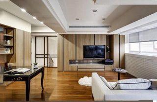 木色现代风电视背景墙平面图