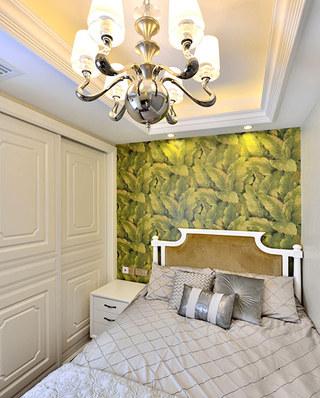 108平新古典风格二居卧室壁纸图片