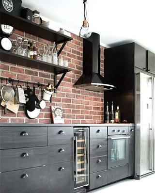 11个厨房砖墙背景墙装修 文艺复古工业风2/11