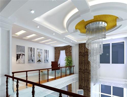 客厅在这个复式楼中的地位是重中之重的,一个奢华的欧式吊顶就完成了图片