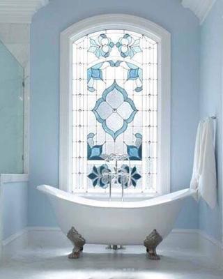 蓝色系浴室布置参考图