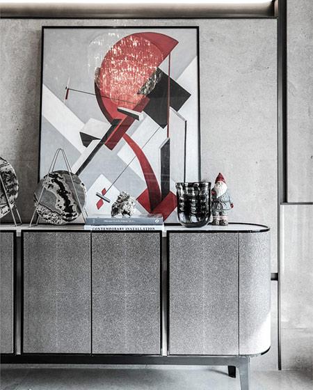 90平简约风格样板房客厅展示柜图