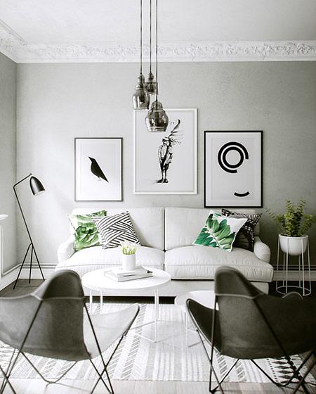 北欧风格单身公寓布艺沙发图片