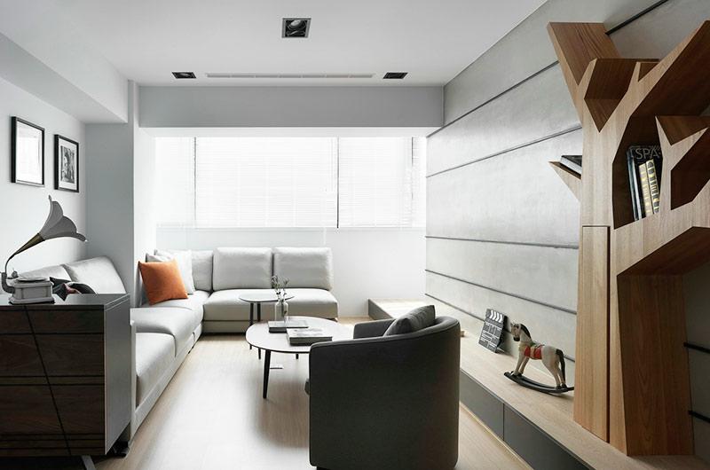 92平简约风格公寓客厅装修图
