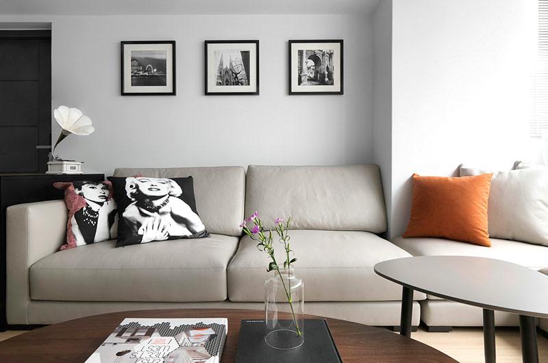 92平简约风格公寓真皮沙发图片