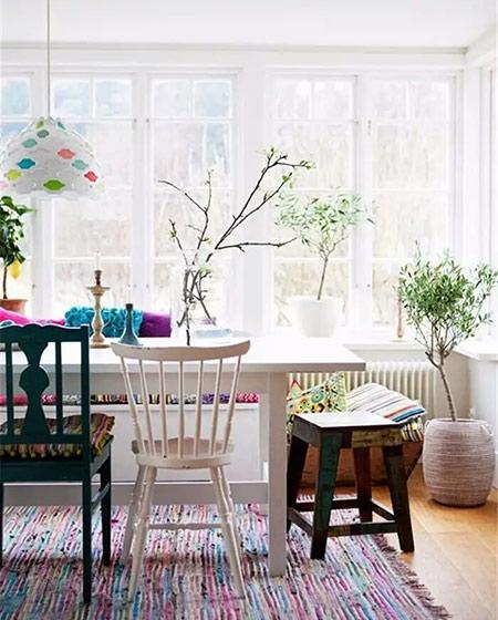 阳光房装修混搭风格餐椅图