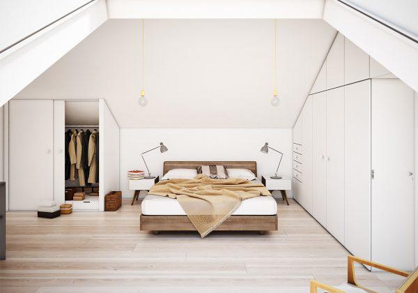 白色系阁楼卧室欣赏图