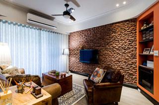 82平美式风格装修电视背景墙装修