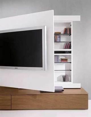 收纳型电视背景墙布置摆放图