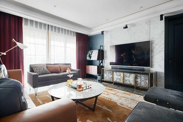 新中式带电视背景墙效果图