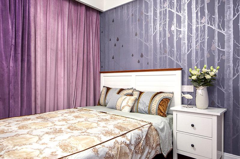 160平美式四房装修卧室壁纸图片