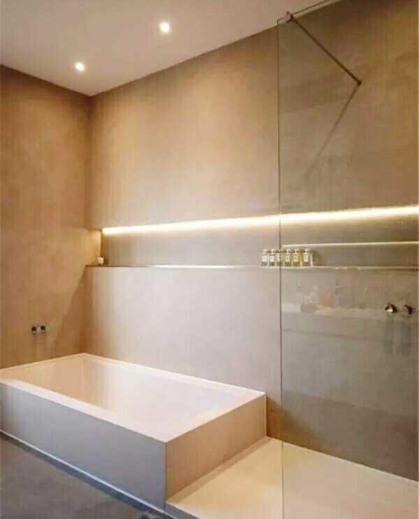 现代风卫生间隐形灯带设计平面图