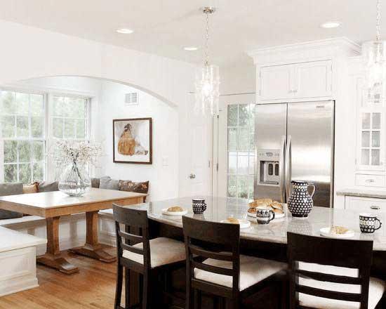 白色系开放式厨房图片大全