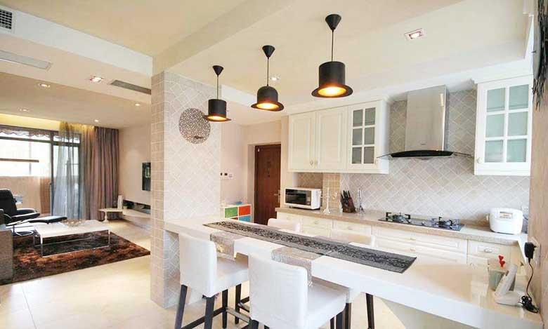 美式开放式厨房装修设计图