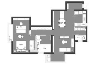 131平简约风格二居户型布置图