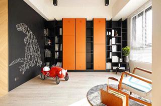 132平简约公寓装修整体书柜图