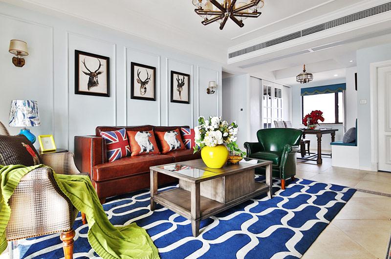 117平混搭风格二居茶几地毯图片