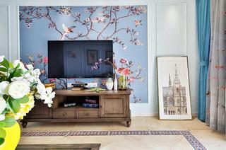 117平混搭风格二居电视背景墙装修