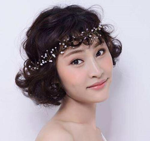 中短发新娘发型图片2017款 中短发新娘发型教程图片