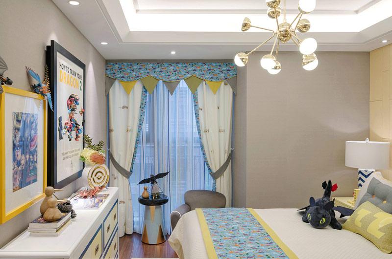 140平样板间装修儿童房窗帘图