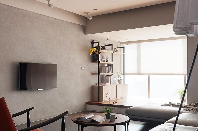 105平简约风格二居电视背景墙