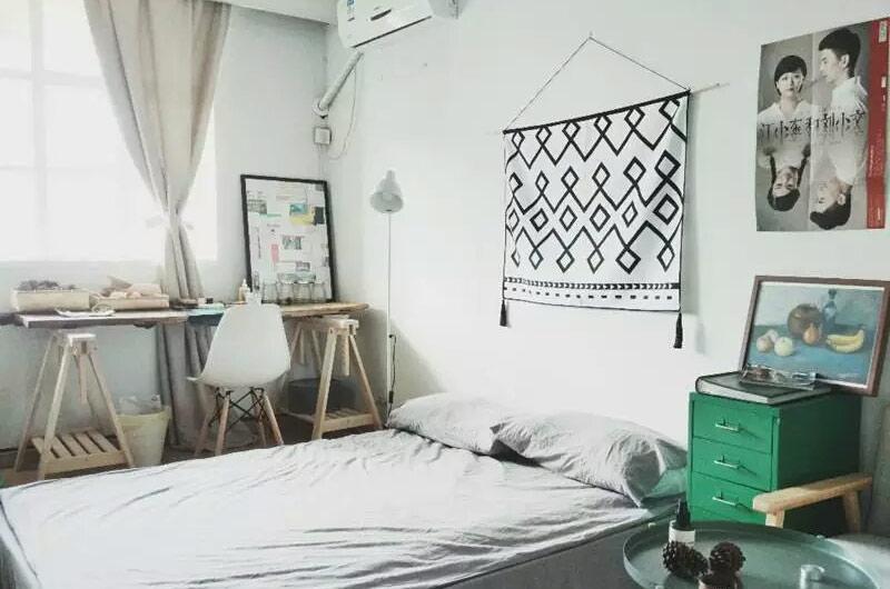 25平小户型一居卧室床品图片