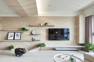 115平简约风格三居木质电视背景墙