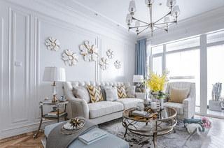 140平法式样板房装修客厅茶几图片
