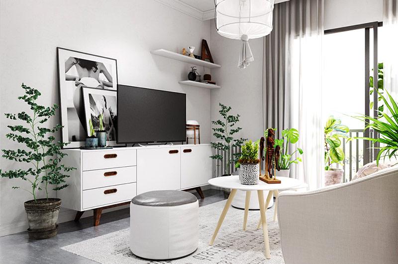 北欧风格一居室装修展示柜设计