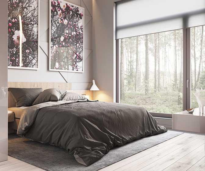 现代简约风两居室卧室装饰图