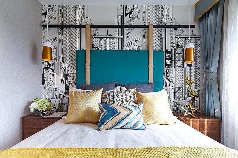 89平简约风格三居卧室床头背景墙
