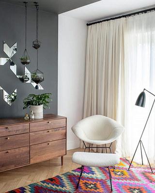 北欧风格客厅装修窗帘设计