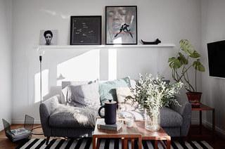 52平北欧风格一居客厅效果图