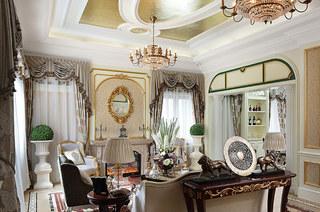 欧式古典风格样板房客厅吊顶设计