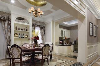 欧式古典风格样板房餐厅效果图