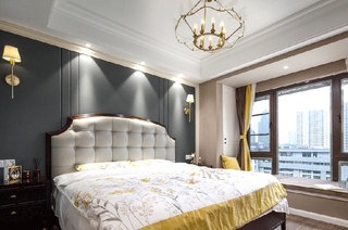 140平美式风格三居主卧室装修